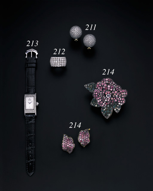 A SUITE OF MULTI-COLOURED SAPPHIRE FLORAL JEWELLERY
