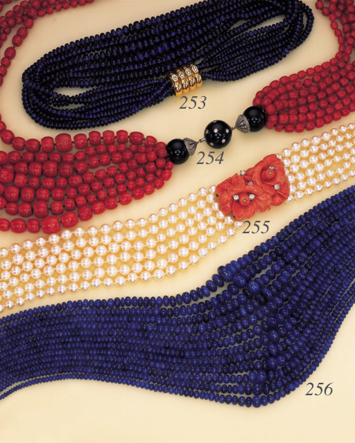 A CULTURED PEARL, CORAL AND DIAMOND NECKLACE, BY CARTIER