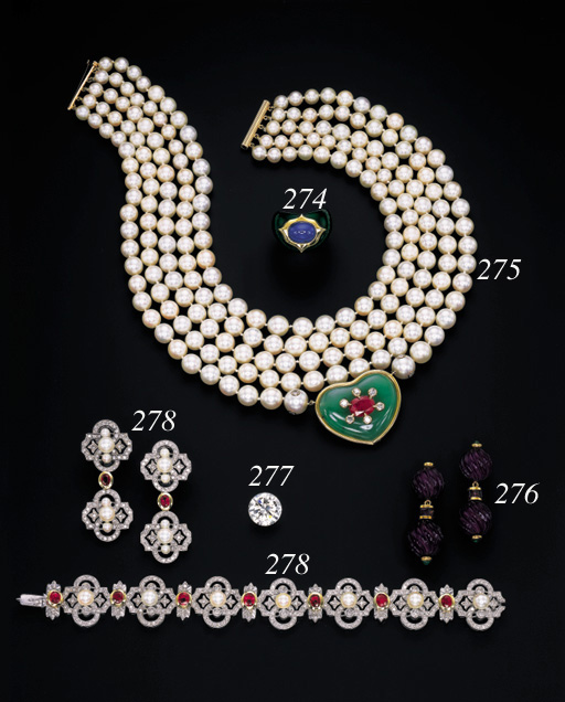 A CULTURED PEARL AND MULTI-GEM NECKLACE, BY JAR