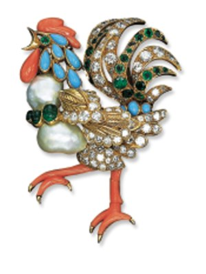 A MULTI-GEM ROOSTER CLIP BROOC