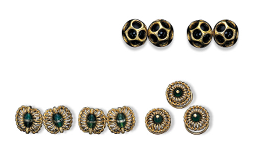 TWO PAIRS OF CUFF-LINKS AND A DRESS-SET