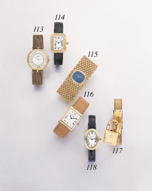 Patek Philippe. An unusual 18K pink gold wristwatch with bracelet