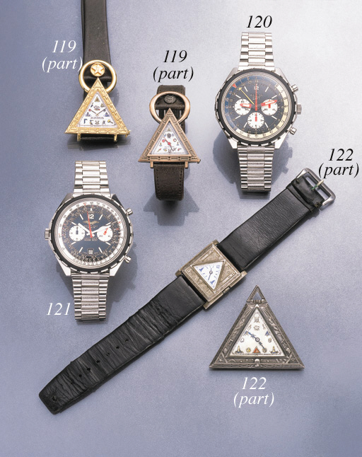 Swiss. A lot of one stainless steel and gilt and one stainless steel Masonic wristwatches, one 18K gold ring and one 18K pink gold pendant