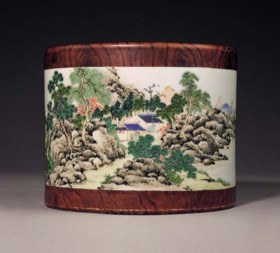 A VERY RARE FAMILLE ROSE AND 'FAUX BOIS' LANDSCAPE BRUSHPOT,