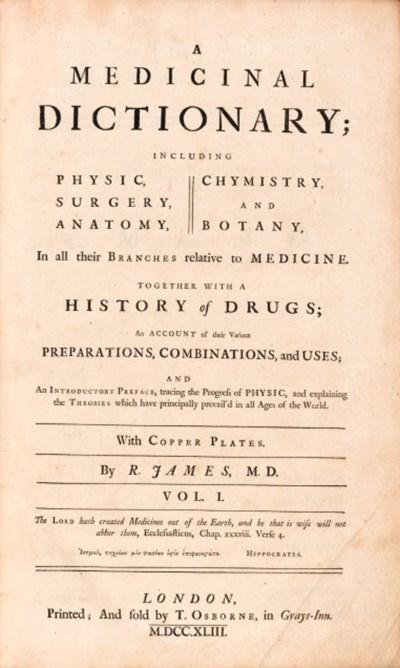 JAMES, Robert (1705-1776). A M