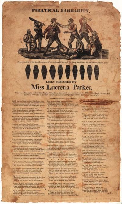 PARKER, Lucretia. [BROADSIDE]