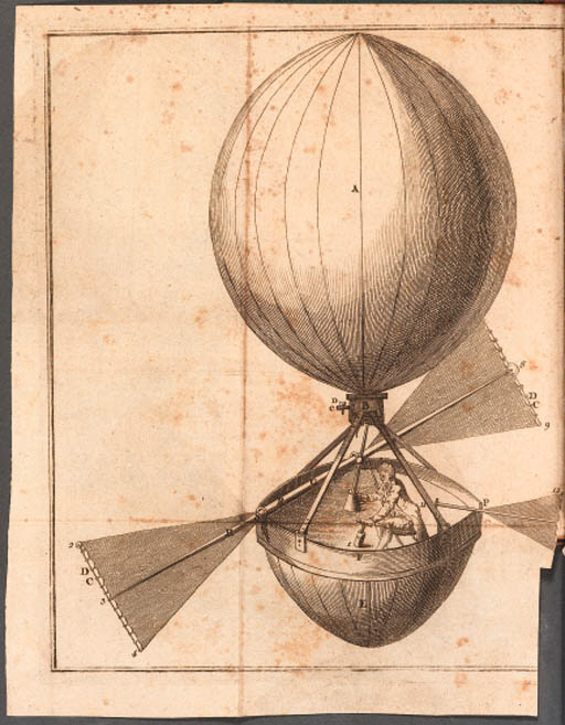 "Considérations sur le globe aérostatique, par M. D*****. Paris: Le Jay, 1783. 8o (190 x 125 mm.) Engraved folding frontispiece showing a balloon. 16 pages (occasional spotting, generally in good condition). Modern quarter calf. FIRST EDITION, with half titles. A ballooning incunable. The Montgolfier brothers began their experiments in June 1783. The present pamphlet suggests means for controlling altitude and direction which are keyed to the frontispiece showing a man in a ""globe aérostatique."" The approbation for this pamphlet is 17 September 1783, two days before the first successful ascent of a Montgolfier ballon carrying three farm animals. The first manned ascent occurred two months later."