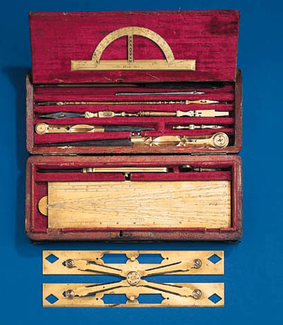 A fine late 18th-Century set of brass drawing instruments,