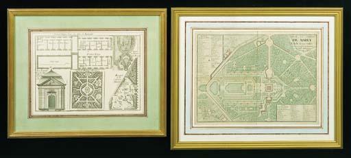 DEUX GRAVURES représentant l'une divers éléments architecturaux et de jardins du Château de Roissy, l'autre un plan du domaine de Marly