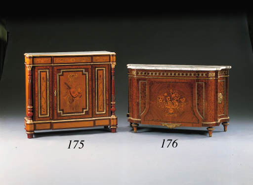 A LOUIS XV/XVI STYLE ORMOLU-MOUNTED MAHOGANY, MARQUETRY AND PARQUETRY COMMODE