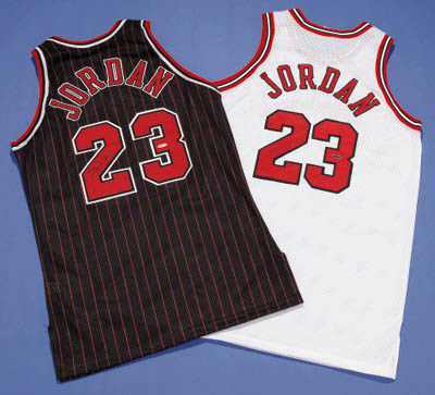 TWO MICHAEL JORDAN SIGNED JERS