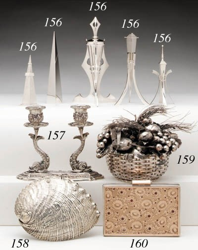 SILVER COATED-SEASHELL TABLE O