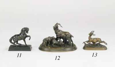A French bronze study of a run