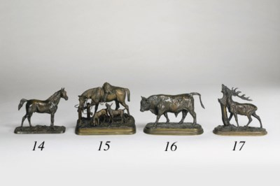 A FRENCH BRONZE STUDY OF A STA