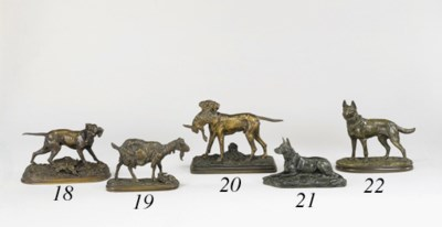 A French bronze study of a ret