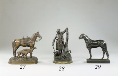 A French bronze group of a Sco