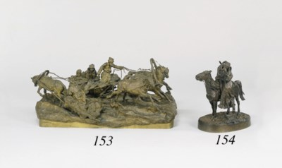A RUSSIAN BRONZE GROUP OF A CO