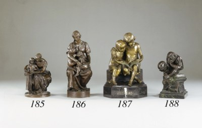 A German bronze group of two g