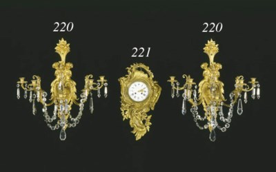 A PAIR OF ORMOLU AND CUT GLASS