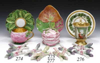 A MEISSEN ROSE-FORM CUP AND SA