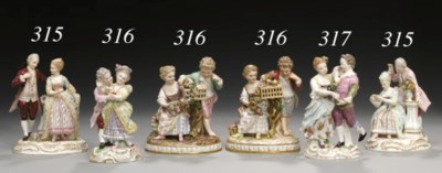 TWO MEISSEN FIGURE GROUPS OF A