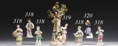FIVE MEISSEN FIGURES OF CHILDR