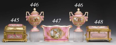 A PAIR OF SÈVRES STYLE PINK-GR