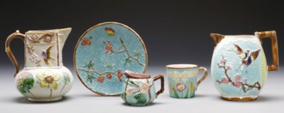 A GROUP OF FIVE MAJOLICA WARES