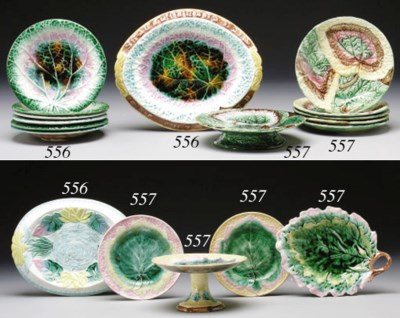 TWO MAJOLICA BREAD TRAYS AND S