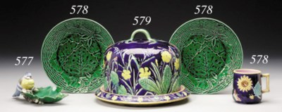 A GROUP OF FOUR MAJOLICA PLATE