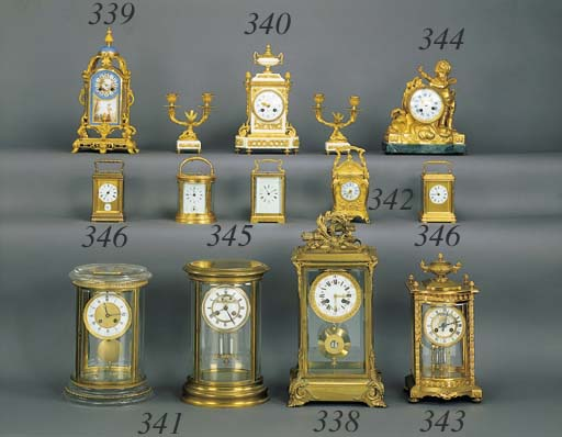 TWO FRENCH BRASS CARRIAGE CLOC