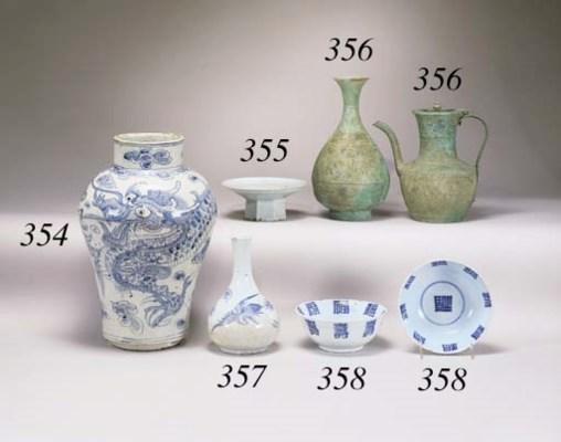 A KOREAN BLUE AND WHITE PORCEL