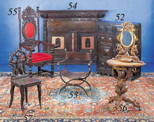A BAROQUE STYLE STAINED-OAK HE