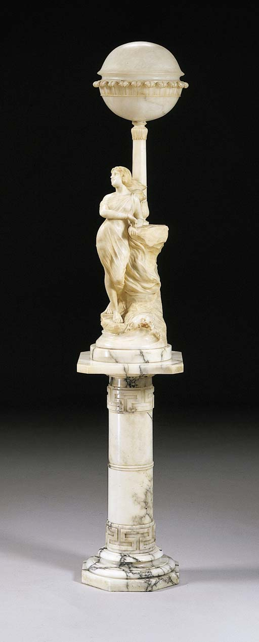 A FRENCH ALABASTER FIGURAL LAM