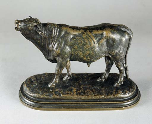 A FRENCH BRONZE STUDY OF A BUL