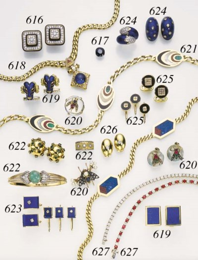 A GROUP OF ENAMEL AND DIAMOND