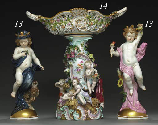 A MEISSEN RETICULATED CENTERPIECE EMBLEMATIC OF THE SEASONS
