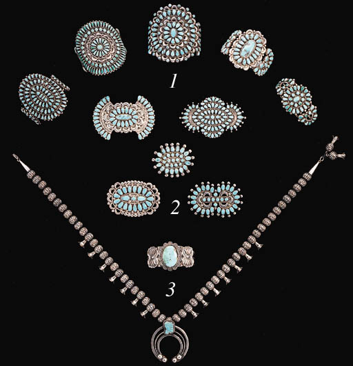 A GROUP OF FIVE SOUTHWEST SILVER AND TURQUOISE BROOCHES