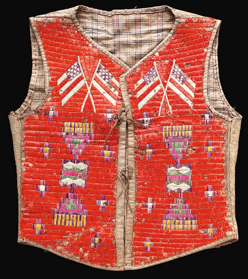 A SIOUX QUILLED HIDE VEST