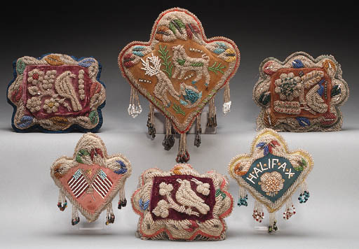 A GROUP OF SIX IROQUOIS BEADED