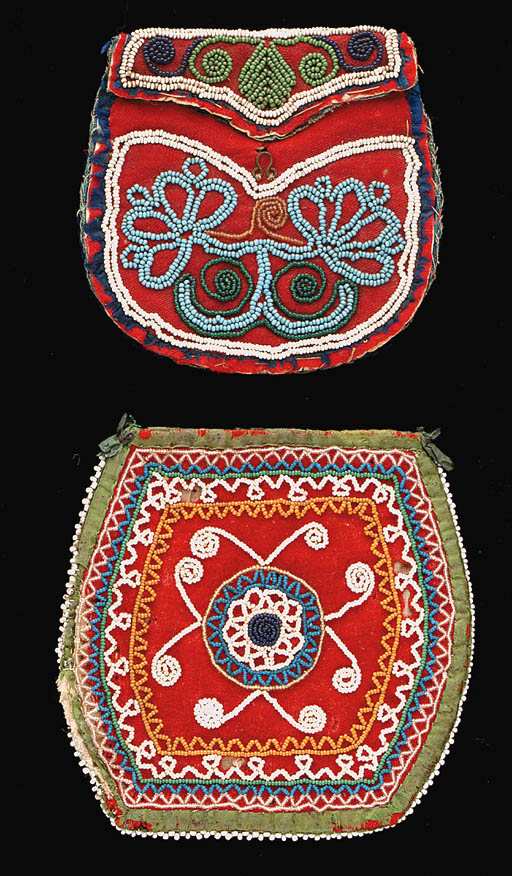TWO IROQUOIS BEADED CLOTH POUC