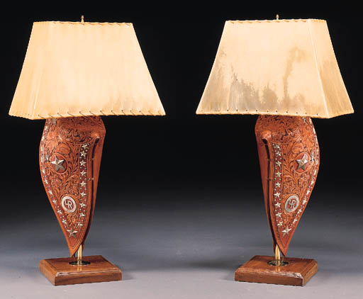 A PAIR OF SILVER MOUNTED LAMP