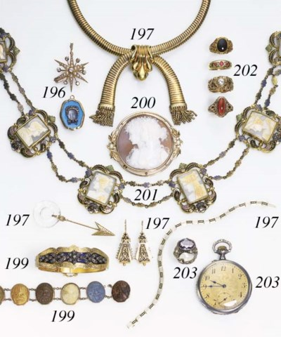 A SUITE OF CAMEO AND ENAMEL JE