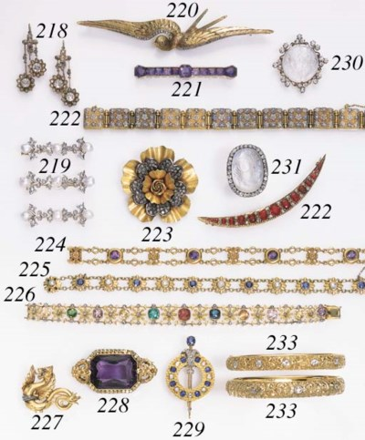TWO ANTIQUE 18K GOLD AND GEMST