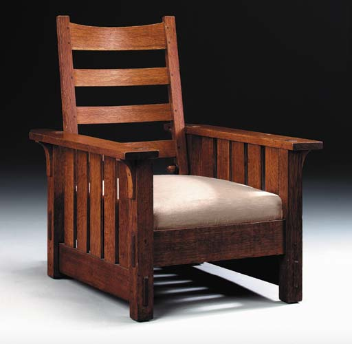 AN OAK FLAT-ARM MORRIS CHAIR
