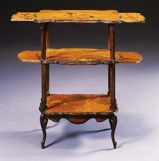 A MARQUETRY THREE-TIERED TABLE