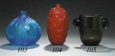 'RONCES', A RED GLASS VASE