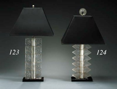 A FROSTED GLASS TABLE LAMP