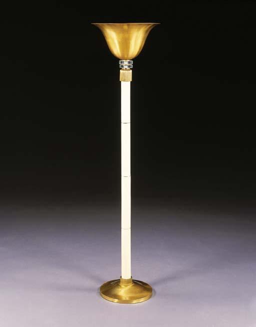 A GILT-METAL AND GLASS TORCHER