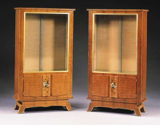 A PAIR OF INLAID ROSEWOOD VITR